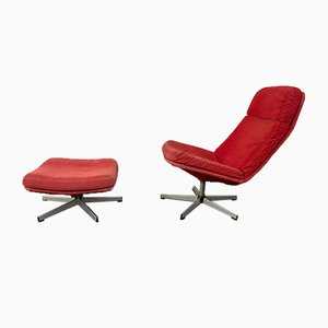 Lunna Armchair and Footstool from IKEA, 1980s, Set of 2