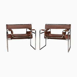 Chrome Plated & Leather Wassily Chairs from Knoll Inc. / Knoll International, 1980s, Set of 2