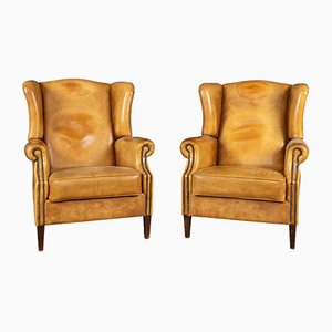 20th Century Dutch Sheepskin Leather Wingback Chairs, Set of 2