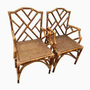 Vintage Wicker and Cane Chairs, 1970s, Set of 2