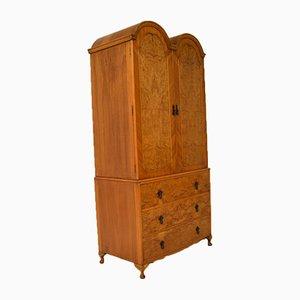 Antique Burr Walnut Wardrobe on Chest