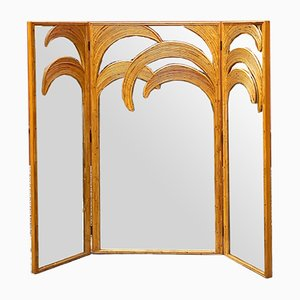 Mid-Century Modern Rattan Mirror with 3 Doors by Vivai Del Sud, 1970s