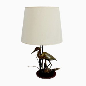 Great Brass Heron Table Lamp, 1970s