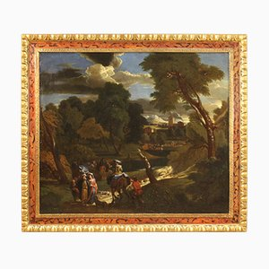 Antique Flemish Landscape Painting, 18th Century