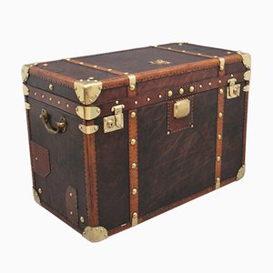 Early 20th Century Leather Bound Ex Army Trunk