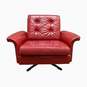 Red Leather Armchair, 1950s