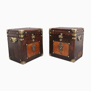 Early 20th Century Leather Bound Ex Army Trunks, Set of 2