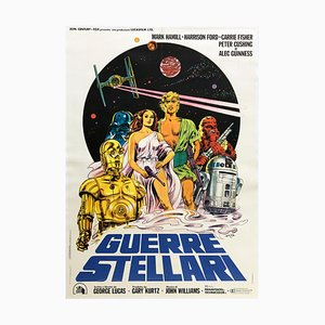 Large Italian Star Wars Film Movie Poster by Michelangelo Papuzza, 1977