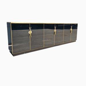 Black Glass Credenza Attributed to Maison Jansen