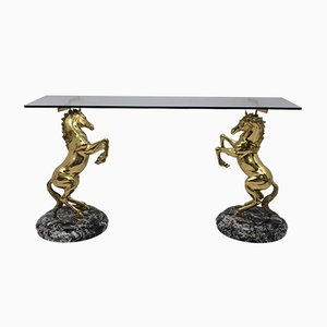 Brass and Marble Base Console Table with Horses, Italy, 1970