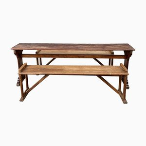 Convent Table and Benches, Set of 3