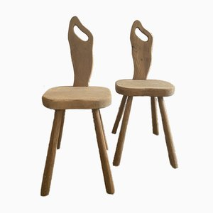 Solid Elm Brutalist Chairs, 1960s, Set of 2
