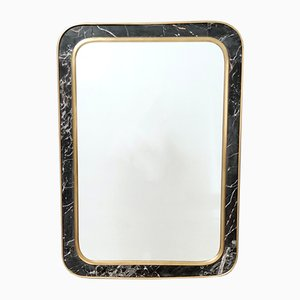 Mid-Century Rectangular Wall Mirror with Brass and Black Portoro Marble Frame