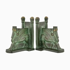 Art Deco Bronze Lamassu Bookends by C. Charles, 1930, Set of 2