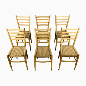 Vintage Dining Chairs in the Style of Gio Ponti, 1970s, Set of 6