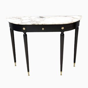 Mid-Century Walnut and Carrara Marble Console Table Attributed to Paolo Buffa