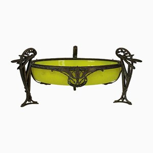 Art Nouveau Glass and Metal Centerpiece