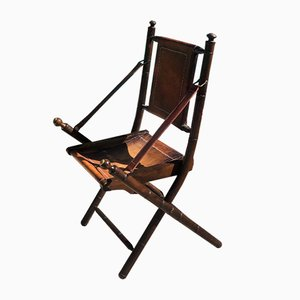 Leather Folding Chair, 1930s