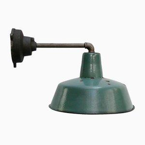 Vintage Industrial Cast Iron & Petrol Enamel Factory Wall Lamp