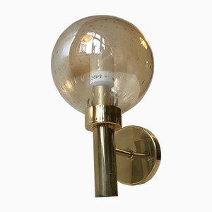 Scandinavian Brass & Bubble Glass Globe Sconce from Vitrika, 1970s