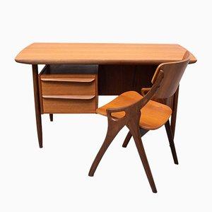 Teak Cow Horn Desk and Matching Chair by Tijsseling for Hulmefa Nieuwe Pekela, Holland, 1960s, Set of 2