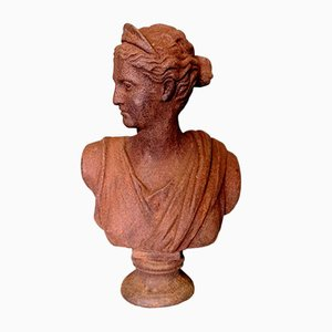 Antique Cast Iron Bust of the Goddess Diana