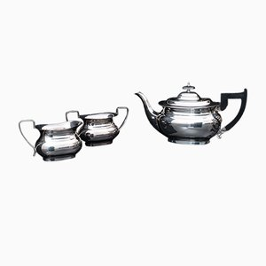 Vintage English Art Deco Silver-Plated Tea Set, Set of 3