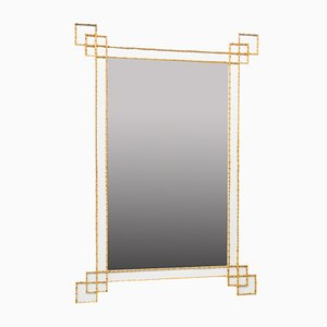 Large Mirror in Formica and Bamboo, 1970s