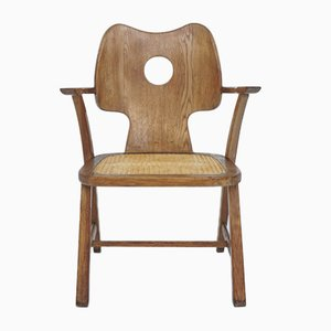 French Armchair in Solid Carved Wood and Vienna Straw in the Style of Jean Royère