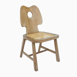 French Chair in Solid Carved Wood and Vienna Straw in the Style of Jean Royère