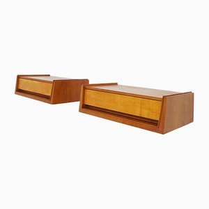 Swiss Suspended Diagonal Bedside Tables Attributed to Hans Bellmann, 1960s, Set of 2