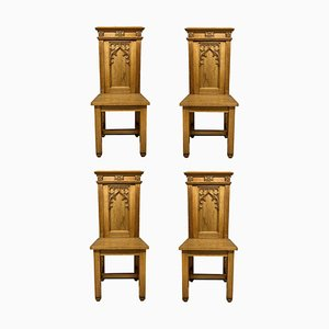 English Gothic Oak Hall Chairs, Set of 4