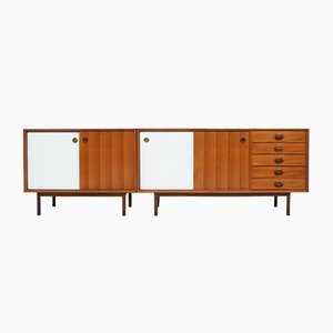 Sideboards with Teak & White Doors and Finished Backs from Faram, Italy, 1960s, Set of 2