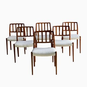 Teak & Boucle Model 83 Dining Chairs by Niels Moller for J. L. Møllers, 1970s, Set of 6