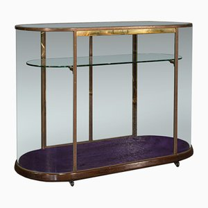 Large Edwardian English Glazed Shop Display Cabinet in Bronze