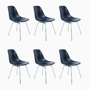 Dark Blue DSX Side Chairs in Fiberglass by Charles & Ray Eames for Herman Miller, USA, 1955, Set of 6
