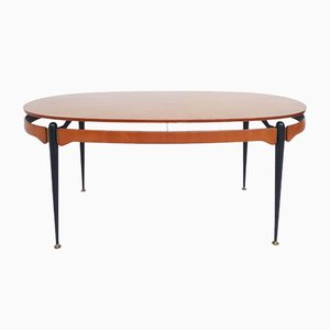 Oval Table or Desk with Suspended Top by Silvio Cavatorta, Italy, 1950s