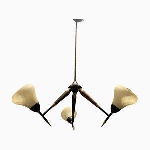 Opaline Glass & Wood Veneer Ceiling Lamp, 1950s