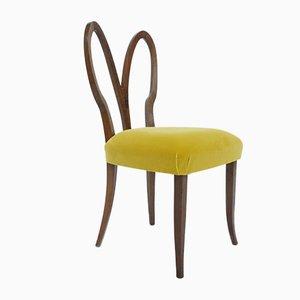 Art Deco Rabbit Chairs in New Yellow Velvet, Italy, 1940s, Set of 2