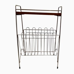 Vintage Chrome Plated Magazine Rack with Black Plastic Feet and a Cover Plate, 1970s