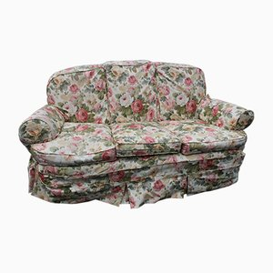 3-Seater Sofa with Mahogany Frame in Floral Upholstery, 1920s