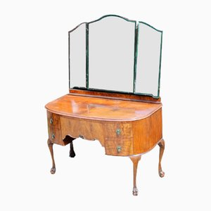 Burr Walnut Dressing Table with Large Mirror, 1940s