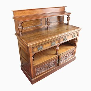 Arts and Crafts Style Carved Oak Sideboard with Back, 1920s