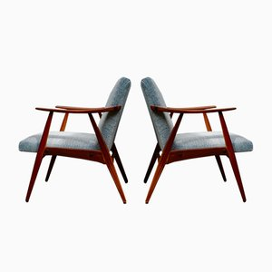 Small Teak Armchairs, Set of 2