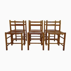 Mid-Century Pine and Leather Dining Chairs by Ate Van Apeldoorn, 1960s, Set of 6
