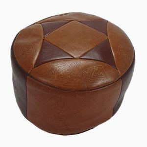Moroccan Leather Pouf, 1970s
