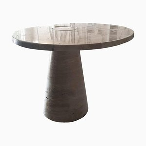 Eros Coffee Table in Travertine by Angelo Mangiarotti, Italy, 1970s