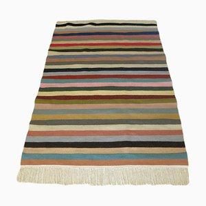 Vintage Berber Handwoven Kilim Rug with Multicolored Stripes