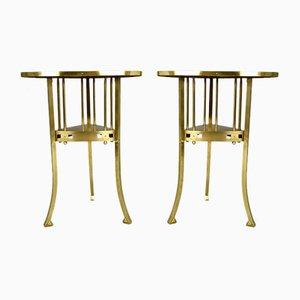 Art Nouveau Tables in Brass, Set of 2