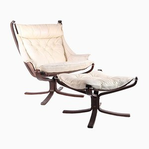 Leather Falcon Bergere and Ottoman by Sigurd Ressel, Set of 2